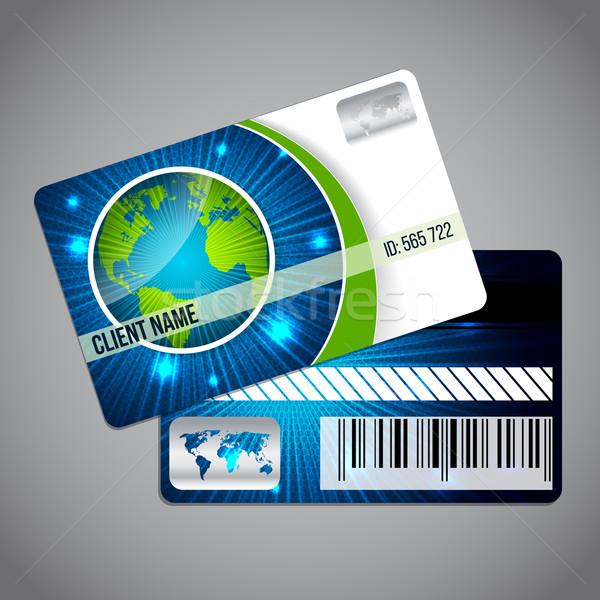 Fidélité carte monde modèle bleu Photo stock © vipervxw