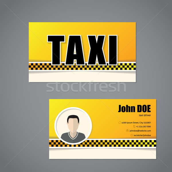 Taxi business card template with driver photo Stock photo © vipervxw