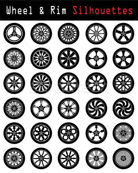 Wheel & Rim silhouettes Stock photo © vipervxw