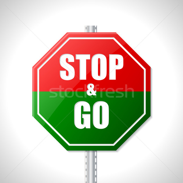 Stop and go sign for racers Stock photo © vipervxw