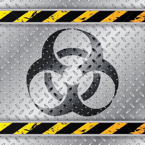 Bio figyelmeztető jel fémes tányér fém keret Stock fotó © vipervxw