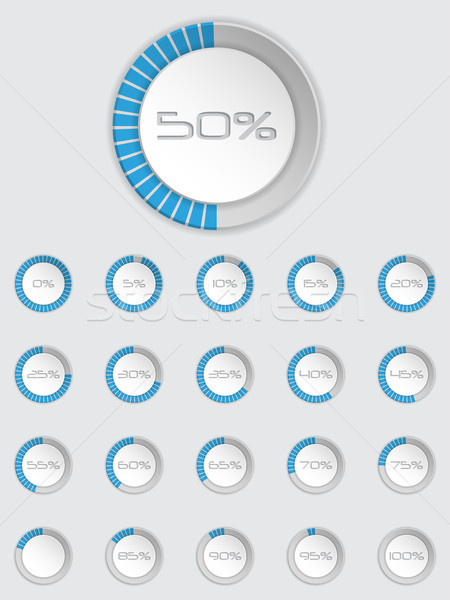 Stock photo: Cool 3d loader icon set in blue