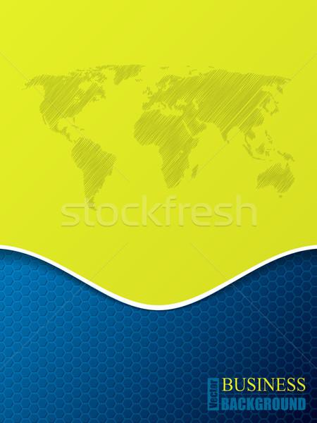 шестиугольник бизнеса брошюра Мир карта шаблон шаблон Сток-фото © vipervxw