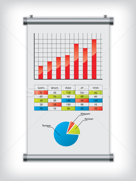 Roll up display with charts Stock photo © vipervxw