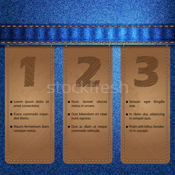Jeans with sewed labels infographic design  Stock photo © vipervxw