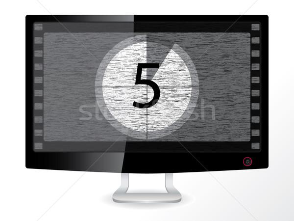 Visszaszámlálás fekete monitor feketefehér LCD textúra Stock fotó © vipervxw