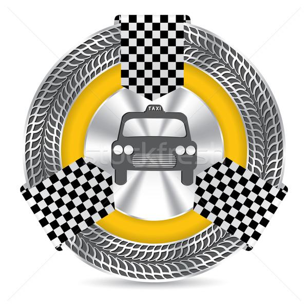 Metallic taxi badge design with tire tread Stock photo © vipervxw