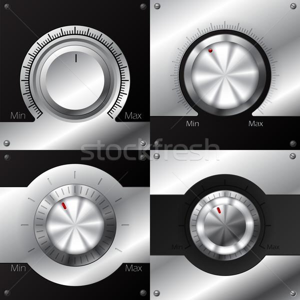 Hacim siyah madeni elemanları tasarımlar Stok fotoğraf © vipervxw