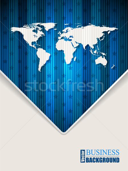 Résumé bleu brochure étoiles carte du monde Photo stock © vipervxw