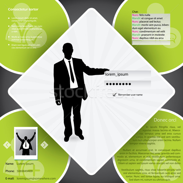 Website template design with login screen Stock photo © vipervxw