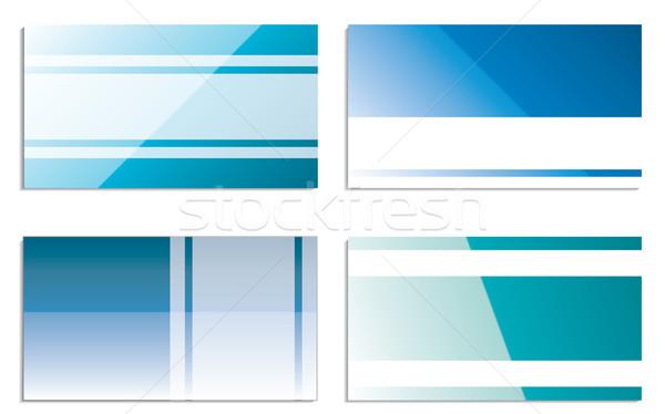 Kék névjegyek szín csíkok fehér hely Stock fotó © vipervxw