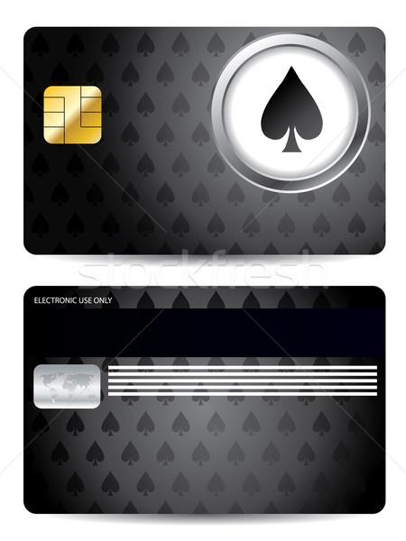 Póker ásó hitelkártya terv fekete textúra Stock fotó © vipervxw