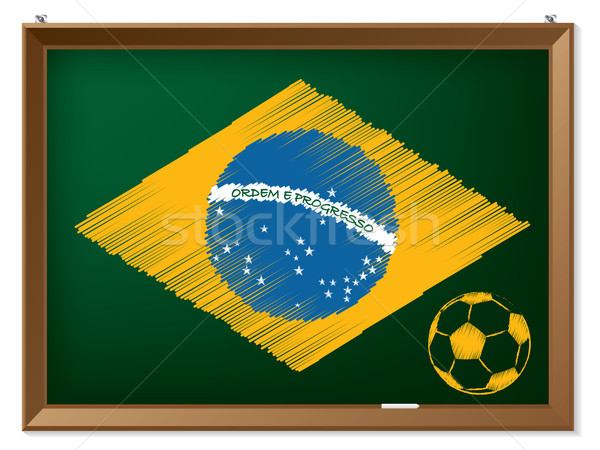 Brasil flag and soccerbal on chalkboard Stock photo © vipervxw