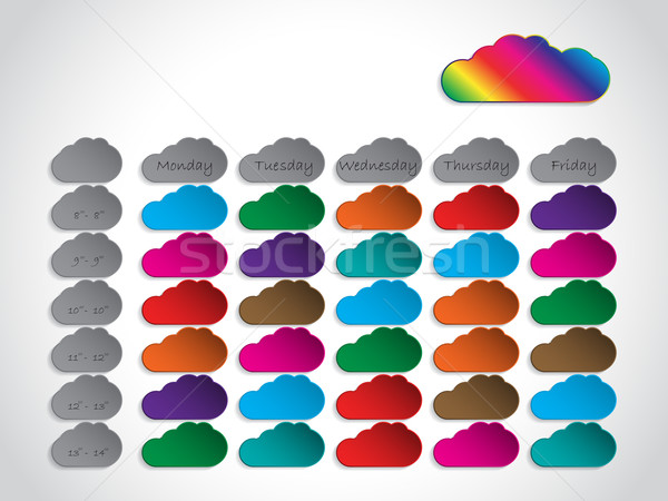 Timetable background design with color clouds Stock photo © vipervxw