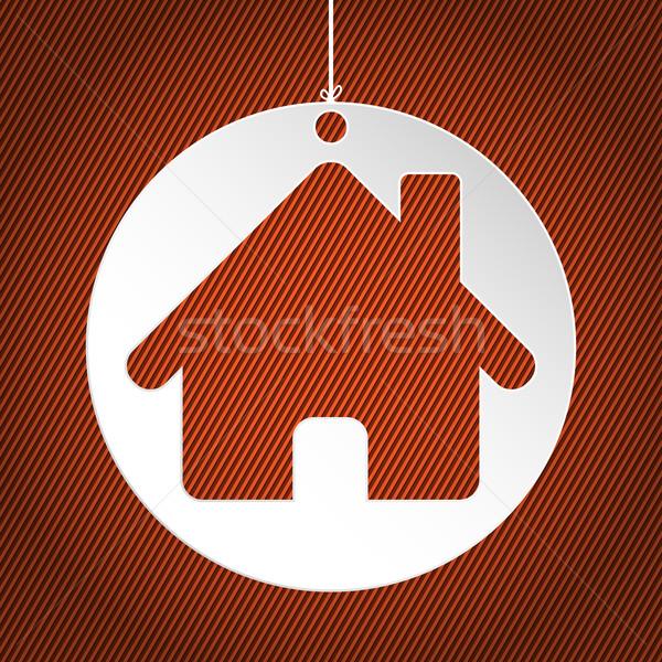 Casa bianca etichetta arancione strisce business casa Foto d'archivio © vipervxw