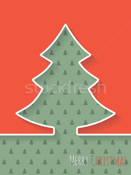 Christmas greeting card with white tree and christmastree patter Stock photo © vipervxw