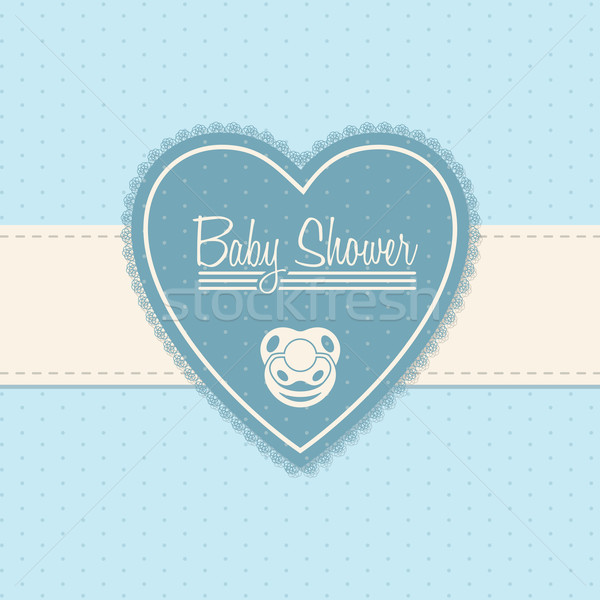 Baby shower invitation design in blue Stock photo © vipervxw