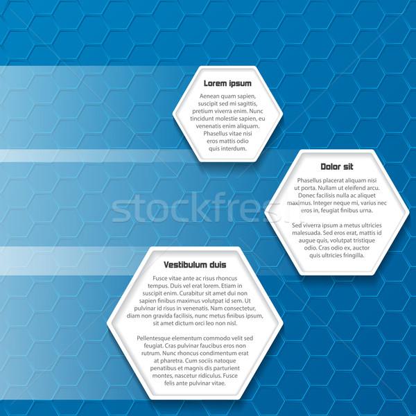 Kék hatszög üzlet terv hely szöveg Stock fotó © vipervxw