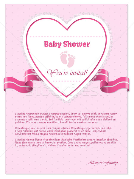 Pink baby shower invitation with text vector illustration mihaly add to lightbox download comp filmwisefo