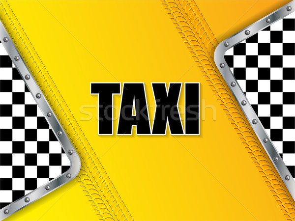 Abstract taxi advertising background with tire tread and metalli Stock photo © vipervxw