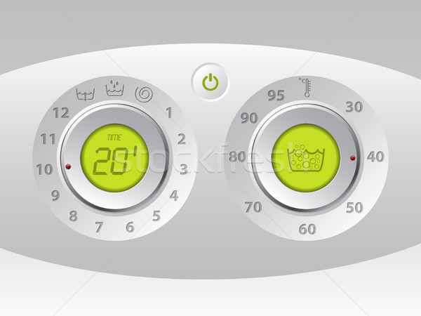 Lavar máquina manual digital painel de controle verde Foto stock © vipervxw