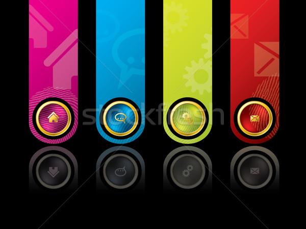 красочный дизайн шаблона основной меню веб почты Сток-фото © vipervxw