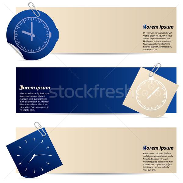 Banners bevestigd schrijfpapier sticker Blauw abstract Stockfoto © vipervxw