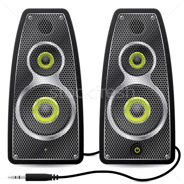 Stereo speaker set with metallic mesh Stock photo © vipervxw