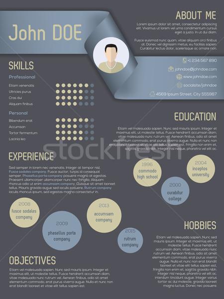Modern cv resume template with ribbon header Stock photo © vipervxw