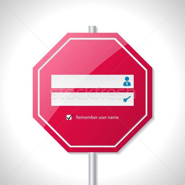 Dur işareti giriş ekran şablon dizayn web Stok fotoğraf © vipervxw