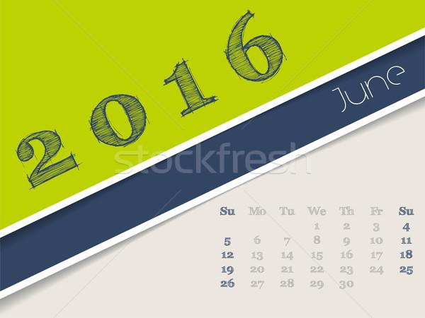 Simplistic june 2016 calendar design Stock photo © vipervxw