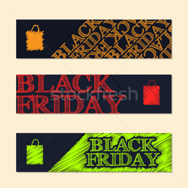 Black friday label set with scribbled elements Stock photo © vipervxw