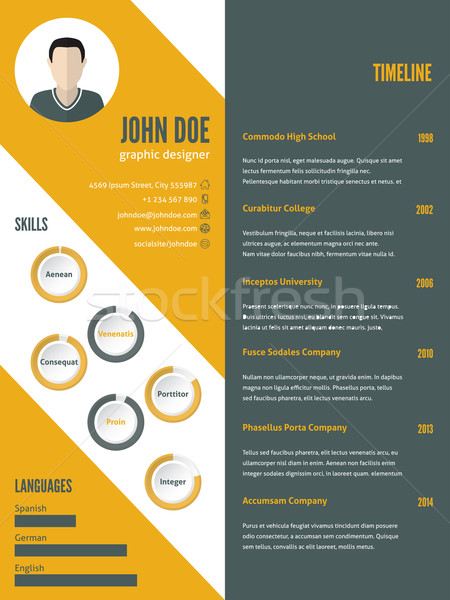 New modern resume cv template with photo Stock photo © vipervxw