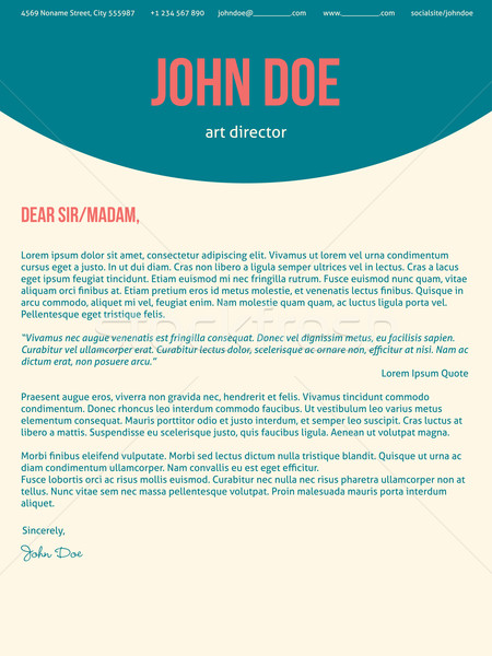 Modern cover letter cv resume in turquoise red colors Stock photo © vipervxw