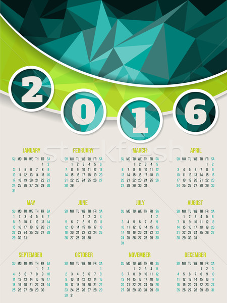 Colorful 2016 calendar template with triangle background Stock photo © vipervxw