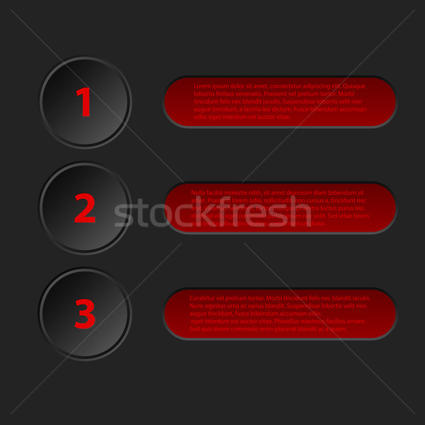 Simplistic 3d infographic in black red color Stock photo © vipervxw
