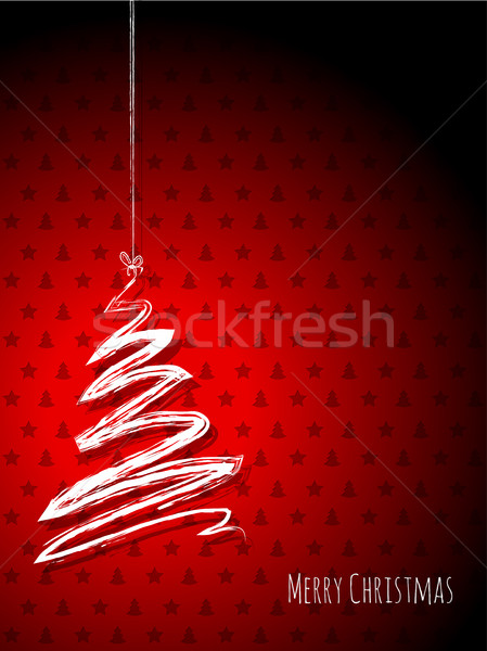 Scribbled christmas tree on a red background Stock photo © vipervxw