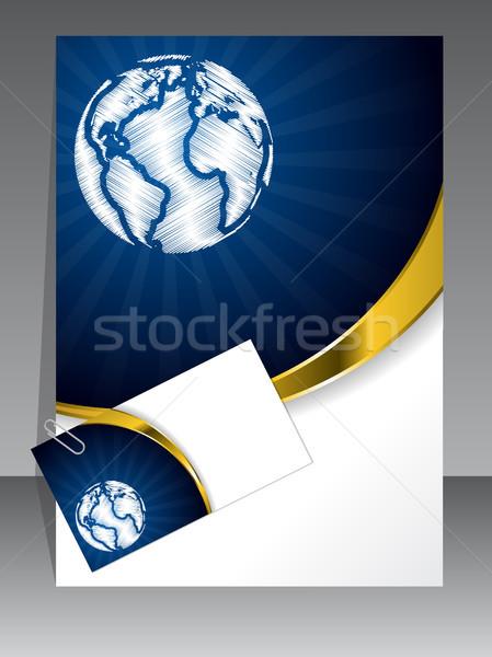 Stockfoto: Business · ingesteld · Blauw · goud · golf · visitekaartje
