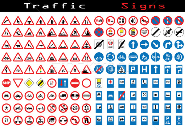 Traffic sign collection  Stock photo © vipervxw