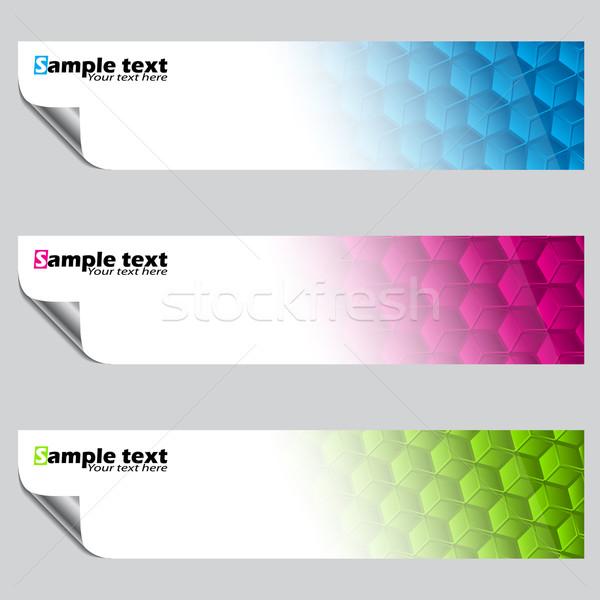 Bannière pelé couleur hexagone Photo stock © vipervxw