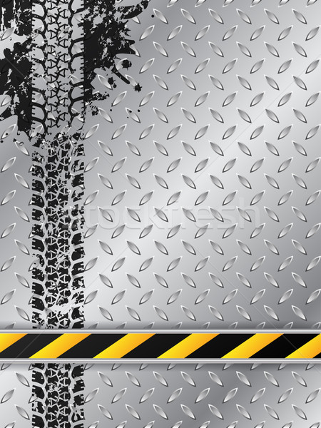 Industrial brochure with tire track and striped bar Stock photo © vipervxw