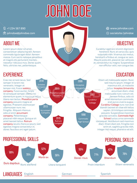 Modern resume cv template with shield shaped photo Stock photo © vipervxw