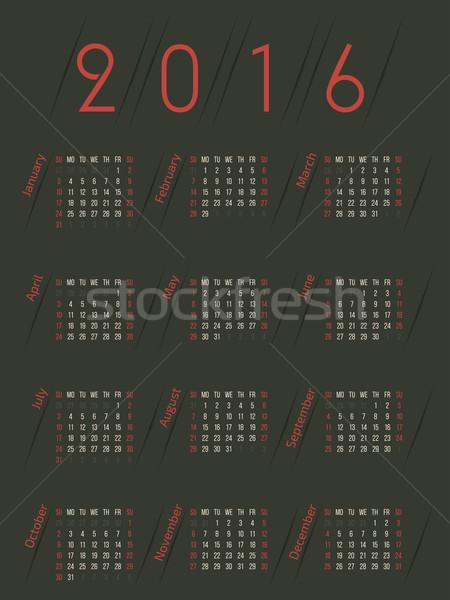 Retro kolorowy 2016 kalendarza projektu ciemne Zdjęcia stock © vipervxw