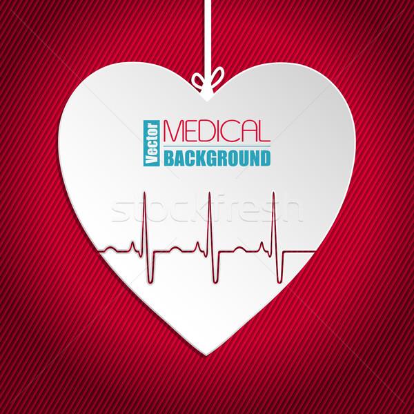 подвесной сердце полосатый красный кардиограмма бизнеса Сток-фото © vipervxw