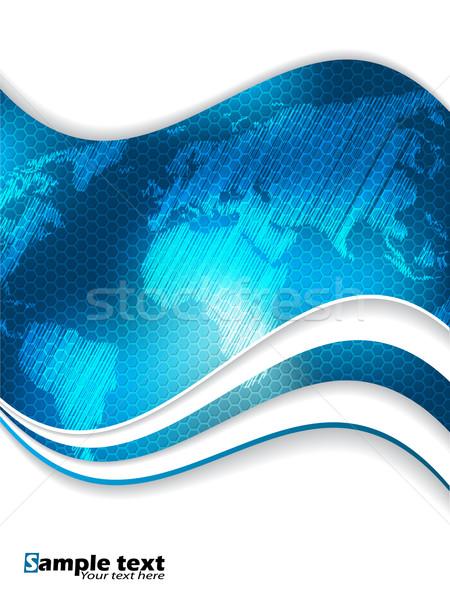 синий шестиугольник бизнеса брошюра дизайна Мир карта Сток-фото © vipervxw