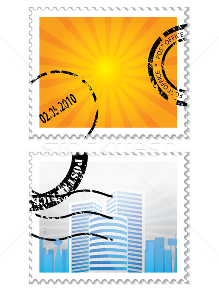 Set of two post stamps on white Stock photo © vipervxw