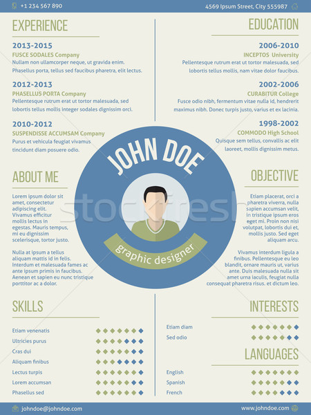 Modern resume curriculum vitae with photo and name in center Stock photo © vipervxw