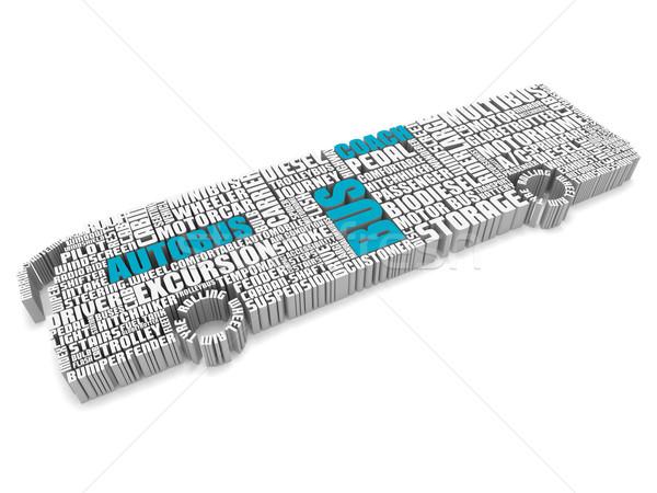 3D grup mavi beyaz sözler otobüs Stok fotoğraf © vipervxw