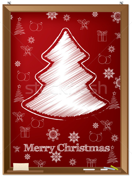 Red chalkboard greeting card with scribbled tree  Stock photo © vipervxw