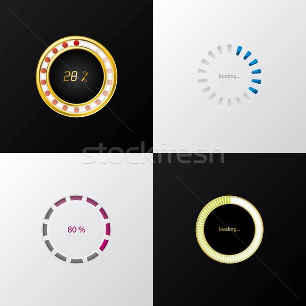 круга прогресс индикатор набор четыре черно белые Сток-фото © vipervxw